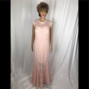 Soft Pink/blush Floral Lace Evening Gown